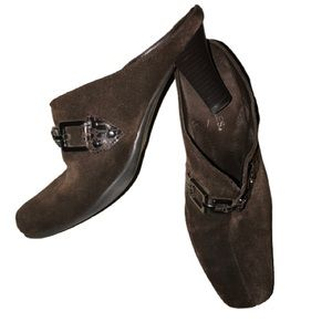 Brown Suede Cintral Station mules in 8.5 M